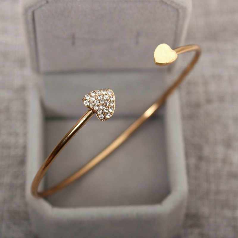Hot 2018 New heart bracelet silver colour gold colour crystal love opening gold color bracelet crystal bracelets & bangles