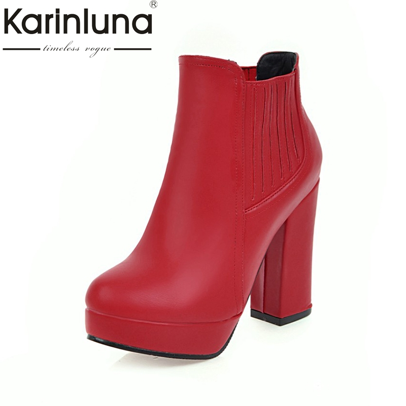KARINLUNA 2017 Large Size 32-48 Platform Slip On Women Shoes Woman Fashion Square High Heels Ankle Boots Top Quality Casual Shoe platform women boots 2016 fashion casual shoes woman ankle boots slip on flats autumn spring wedges women shoes xwc831