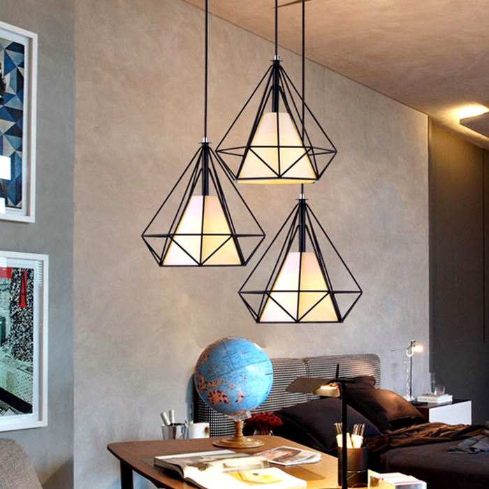 loft vintage pendant lamp diamond birdcage retro chandelier light