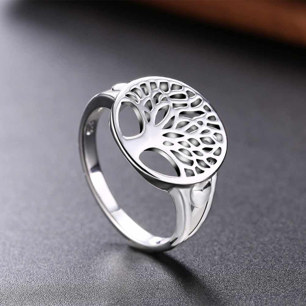 Round Tree of Life Ring Classic Accessories 925 Jewelry Fashion Silver Plated Wisdom Tree Rings For Women New Bijoux Gift