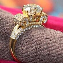 Топ класса люкс, твердое кольцо из желтого золота 14 карат, 3 карата, блестящие синтетические бриллианты, Женское Обручальное кольцо, лучшее предложение, изысканное свадебное кольцо