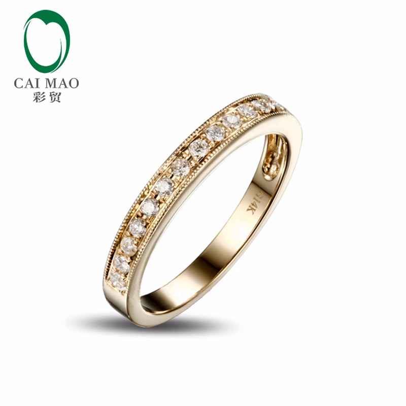 0-25ct-Solid-14k-Yellow-Gold-Natural-Diamond-Engagement-Wedding-Band-Ring