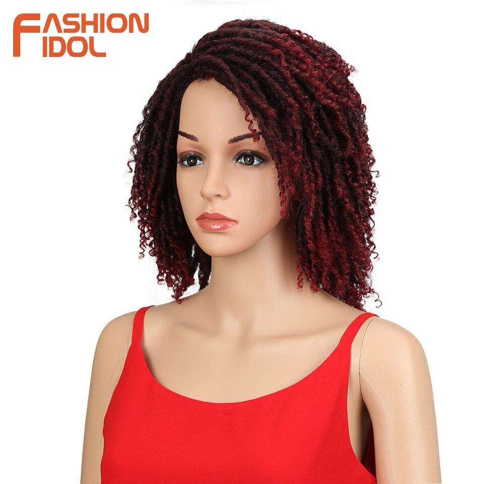 FASHION IDOL Soft Short Synthetic Wigs For Black Women 14 inch High Temperature Fiber Dreadlock Ombre Burg Crochet Twist Hair 2