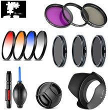 UV CPL FLD Yıldız ND2 ND4 ND8 Kademeli Renk filtre lens Hood Cap Canon EOS 2000D 4000D Rebel T7 18  55mm/EF S 55 250mm II