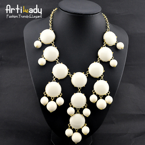 Artilady blue round stone necklaces statement party necklaces