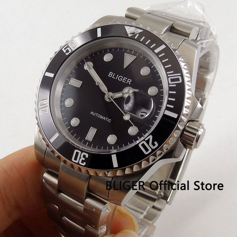 BLIGER Luxury Sapphire Glass 40MM Black Dial Ceramic Bezel Men s Watch MIYOTA Automatic movement relogio