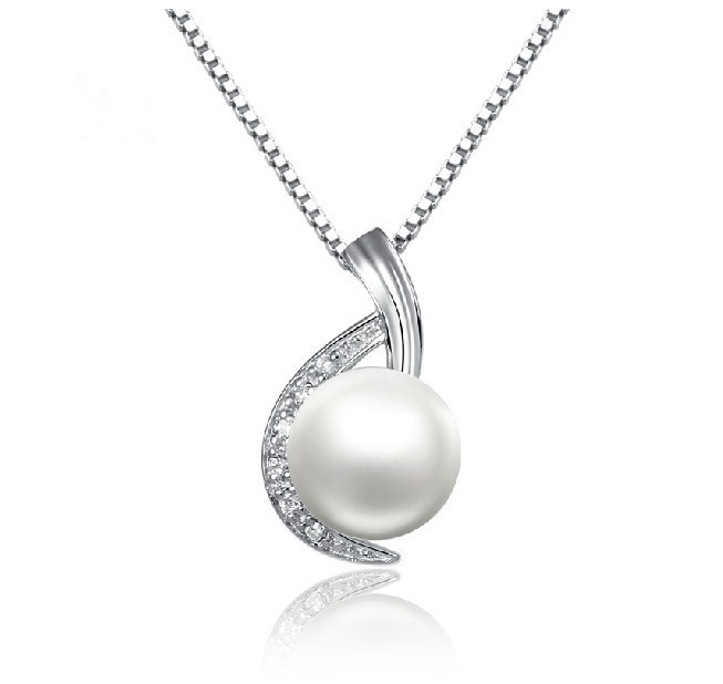 High quality aaa grade natural freshwater pearl engagement wedding high quality aaa grade natural freshwater pearl engagement wedding pendant necklace solid sterling silver box style long chain in pendants from jewelry mozeypictures Gallery
