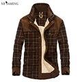 Homens de flanela de inverno grosso plaid dress shirt moda da longo-luva de algodão camisas casual qualidade estilo britânico de lã desgaste do trabalho masculino exército