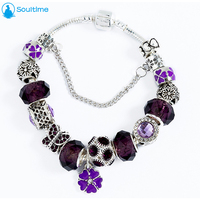 SOULTIME Brand Vintage Silver Color Amethyst Beads Bracelet For Women 2017 New Crystal Butterfly Hearts Bracelets
