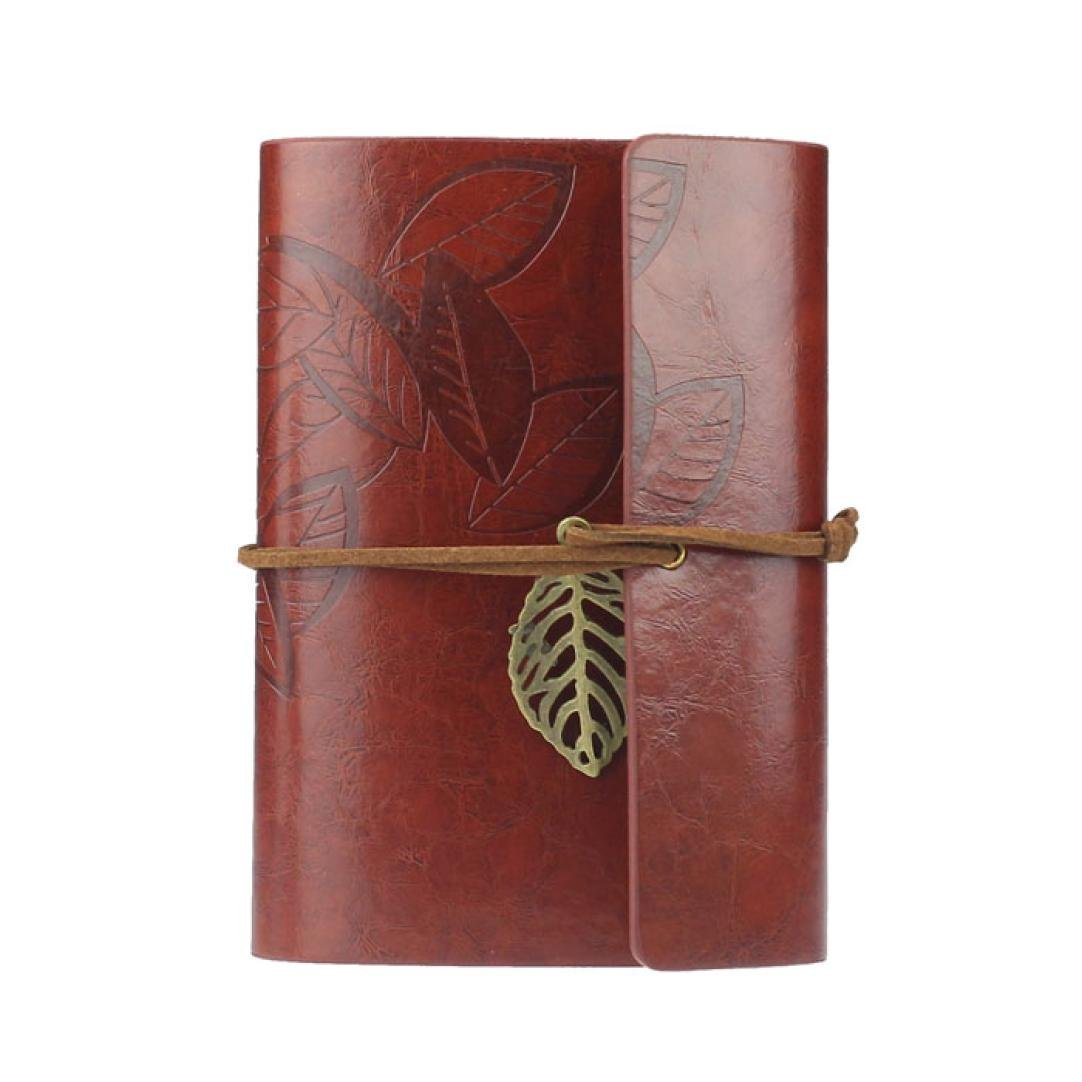 Vintage Leaf PU Leather Cover Loose Leaf Blank Notebook Journal Diary Pocket Size (Dark Red) leaf