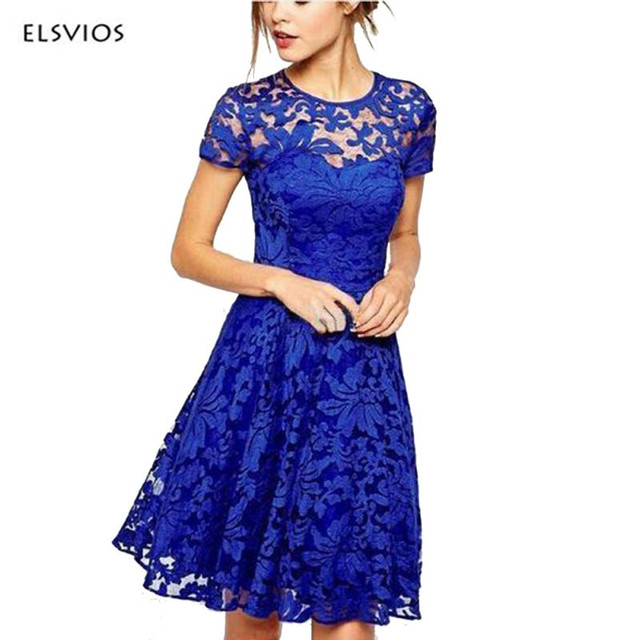 1063f0aadaff ELSVIOS Women Casual Floral Lace Dress 2017 Fashion Ladies Short Sleeve  Dresses Soild Color Blue Red Black Evening Party Dress
