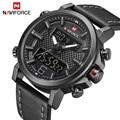 NAVIFORCE Herren Sport Uhren Männer Quarz LED Digital Uhr Top Marke Luxus Männlichen Mode Leder Wasserdicht Military Armbanduhr