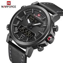 NAVIFORCE для мужчин s спортивные часы для светодио дный мужчин кварцевые светодиодный цифровые часы лучший бренд класса люкс мужской моды кожа водонепроница…