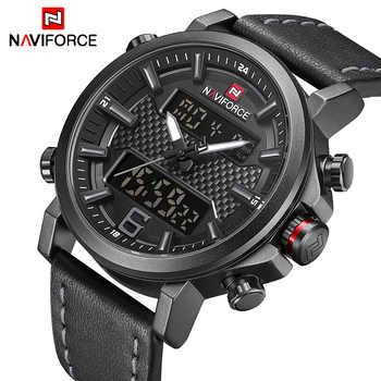 NAVIFORCE Mens Sports Watches Men Quartz LED Digital Clock Top Brand Luxury Male Fashion Leather Waterproof Military Wrist Watch - DISCOUNT ITEM  48% OFF All Category