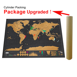 Scratch Map Off World Travel Map Poster Copper Foil Wall Personalized Journal Log Small size without Cylinder Packing