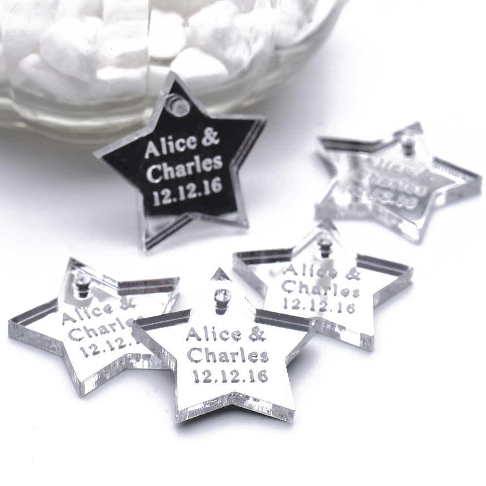 50 Pieces Personalized Engraved Centerpieces Hangs Star Baptism Birthday Wedding Table Decoration Favors Candy Tags