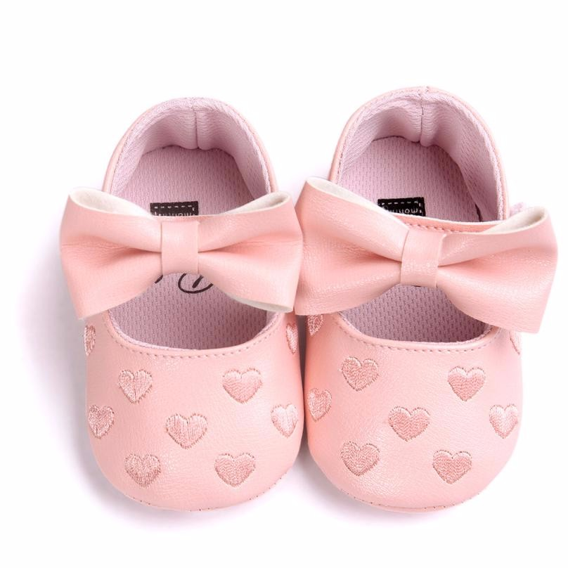 Baby Girl Shoes Heart Pattern Embossed Princess Bowknot Hook Loop Anti-slip Soft Sole Shoes first walker shoes