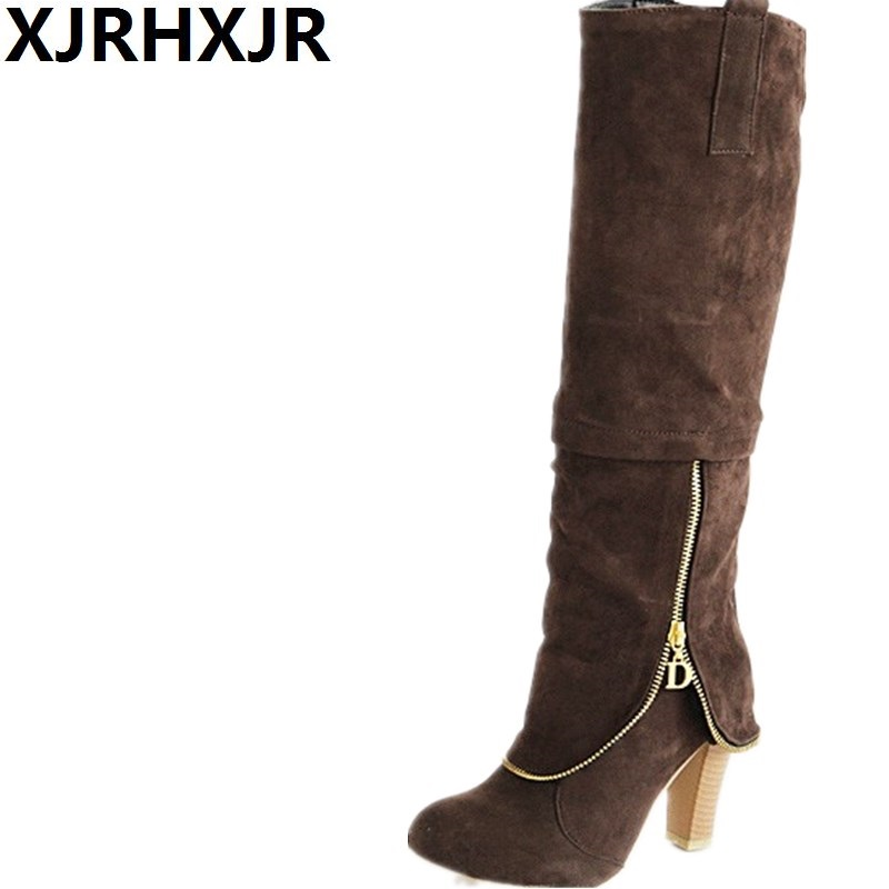 XJRHXJR Knee High Heel Suede Women Shoes Thigh High Round Toe Block High-Heeled Woman Boots Leather Zipper Shoes Gray Black ppnu woman winter nubuck genuine leather over the knee snow boots women fashion womens suede thigh high boots ladies shoes flats
