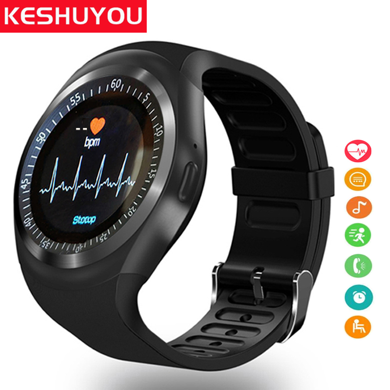 Galleria fotografica KESHUYOU Sport smart watch degli uomini di Cuore Rate monitor Passometer orologi relogio <font><b>smartwatch</b></font> y1-X con la carta sim per il telefono android
