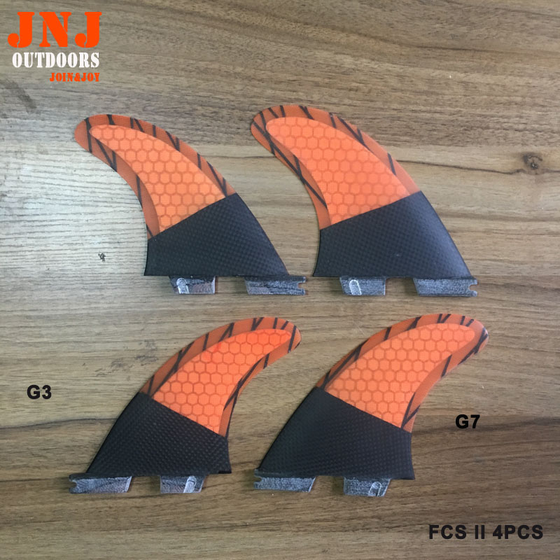 Free shipping surfboard FCS II quad fin thruster mabe by carbonfiber and honeycomb  top quality orange color fcs ii g7 l surfboard fins made by carbon and honeycomb tri set fcs 2 l thruster fin