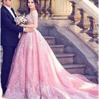 Custom Arabian Prom Gown 2019 Elegant Long Appliques Lace Long Pink Formal Evening Party Dress Floor Legnth Robe de soiree