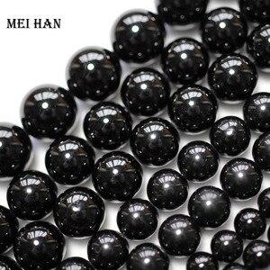 Image 2 - Meihan wholesale (2 strands/set)  natural 6mm & 8mm black tourmaline round loose beads gem stone accessories