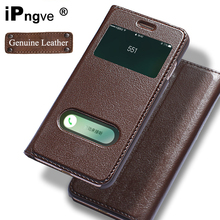 ipngve Genuine Leather Case Flip Cover Case For iPhone 7 Window View Phone With Magnetic Buckle Coque Fundas For iPhone 7 Plus