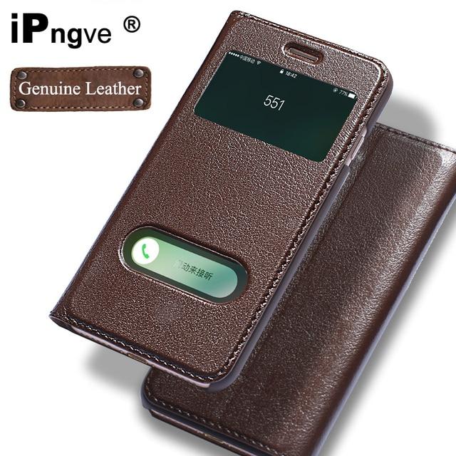 Ipngve чехол из натуральной кожи с откидной крышкой чехол для iPhone 7 окном для телефона с магнитной пряжкой Coque Fundas для Apple iPhone 7 Plus