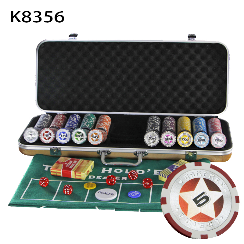 The Best New Hot High Quality Texas Poker Chips 300 Pcs Poker Cards Game Set Portable Non-slip Mat Aluminum Case Poker Chips Box Qenueson Reasonable Price Entertainment Gambling