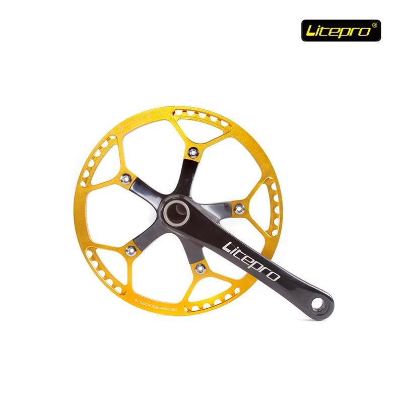 Litepro Elite 53T 56T 58T 45T Road Bicycle Chain wheel Crank Axis Folding Bike Crankset 130mm BCD Cycling Refiting Accessories west biking bike chain wheel 39 53t bicycle crank 170 175mm fit speed 9 mtb road bike cycling bicycle crank