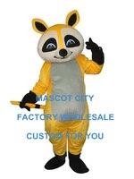 זול יפה צהוב racoon דמות מצוירת גודל קמע תלבושות למבוגרים חליפת תלבושת mascotte mascota מפואר dress sw1244