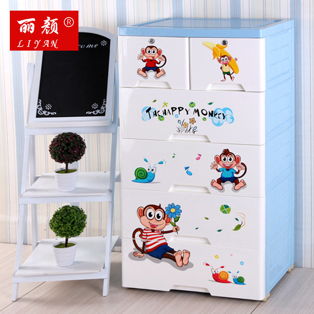 Large Cartoon Thickening Children Baby Wardrobe Closet Plastic Drawer Storage Cabinet Drawers