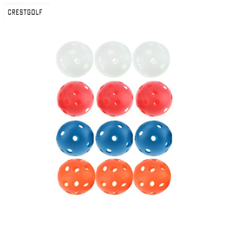 12pcsX72mm Plastic font b golf b font ball Pickleball Airflow Ball Floorball Hollow Indoor Practice Ball