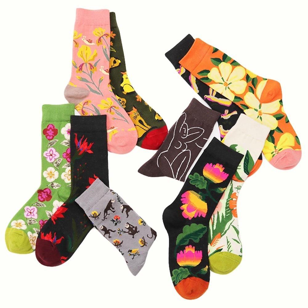 PEONFLY   Happy Socks Man Creative Flower Flowers Pattern Funny Socks Casual Comfort Cotton High Quality Socks