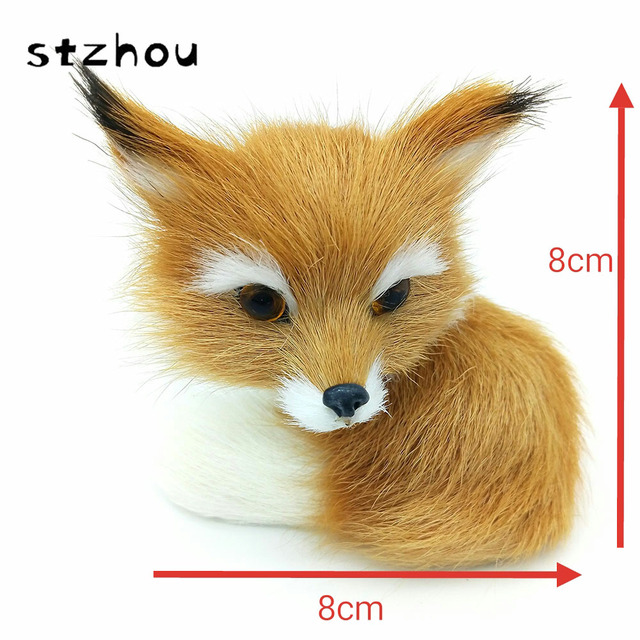 StZhou 8*8cm Simulation Animal Brown And White Fox Toy polyethylene & furs handicraft house Decoration prop emulation doll gift
