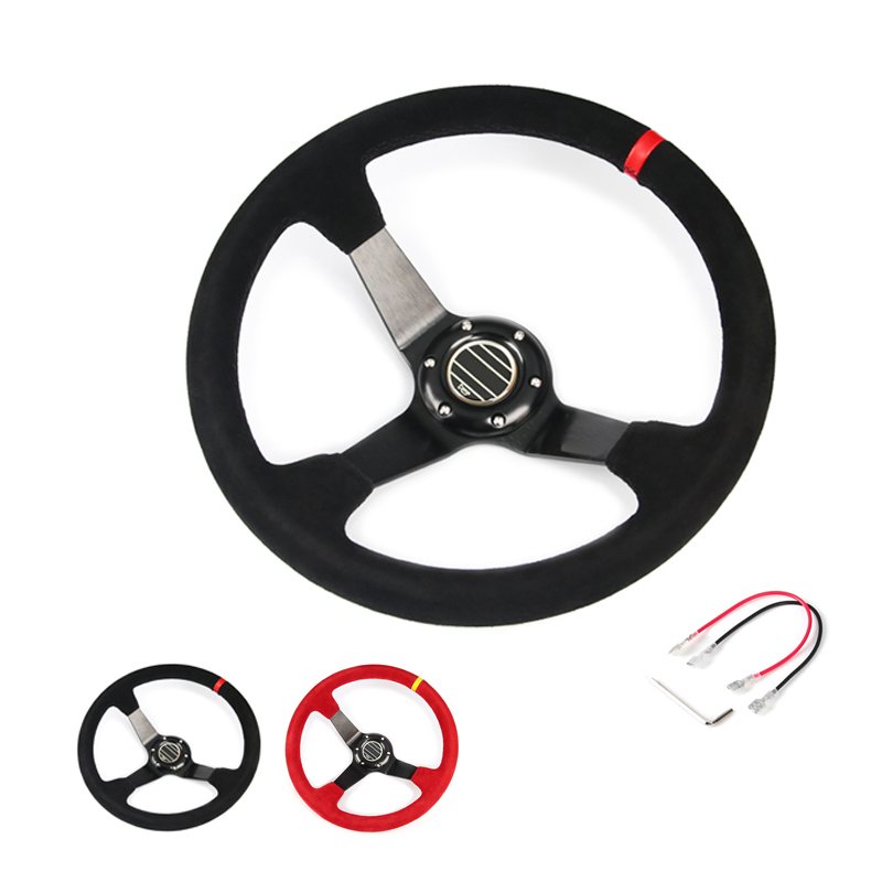 hot 4inch 350mm SPC Deep Corn Drifting Suede Leather Steering Wheel / Universal Car Auto Racing Steering wheels 2/Colors image