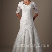 cecelle Vintage Mermaid Wedding Dresses With Half Sleeves