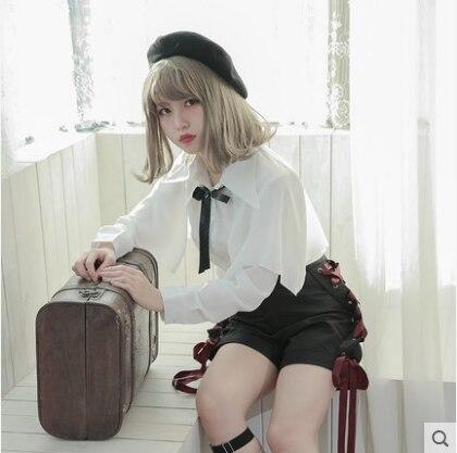 Princess sweet lolita   shorts   [Dolly Delly] original no moonlight punk cross pumping with strap   shorts   women Dolley-0043-2