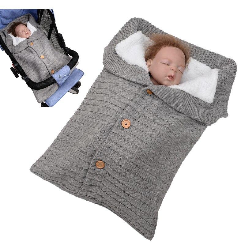 Baby Stroller Sleeping Bag Newborn Cotton Knitting Envelope Autumn Winter Warm Sleepsacks For Footmuff Swaddle Wrap Slaapzak