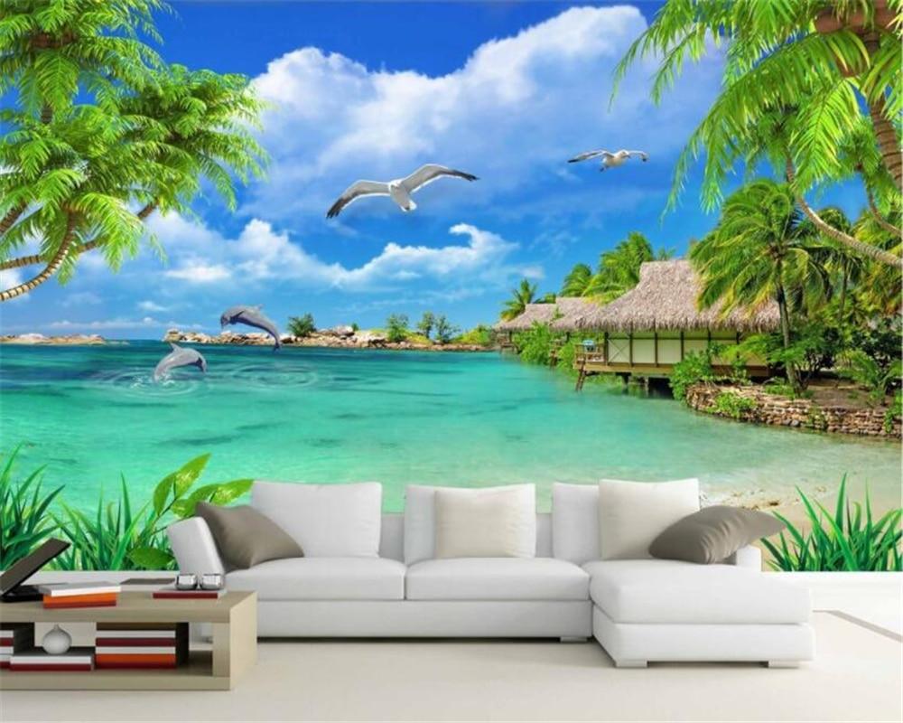 Hd Coconut Tree Seaside Landscape Nature Wallpaper Living: Beibehang Modern Home TV Background Wall Wallpaper HD Sea