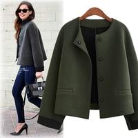 Ordifree 2018 Autumn Women Jacket Wool Coat Casual Outwear Winter Cardigan Army Green Woolen Vintage Elegant Lady Basic Jacket