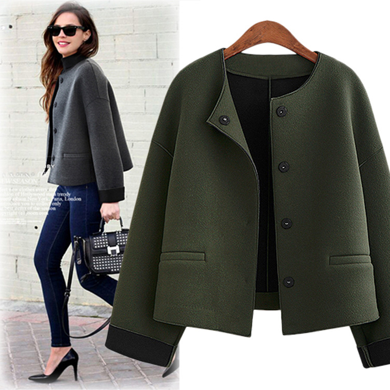Ordifree 2019 Autumn Women   Jacket   Wool Coat Casual Outwear Winter Cardigan Army Green Woolen Vintage Elegant Lady   Basic     Jacket