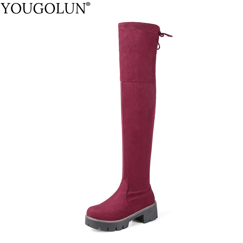 c74cd38a7d5 YOUGOLUN Women Knee High Boots Autumn Winter Lady Cross Strap Over The Knee  Shoes Woman Gray Red Black Mid Square Heels  B034
