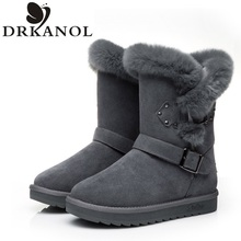 Genuine Leather Real Fur 100% Wool Women's Boots Warm Winter Shoes Fashion Women Snow Boots Round Toe Casual Cotton Shoes