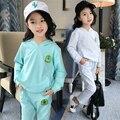 2 Unids, Sudaderas + pantalones, Nueva Llegada 2017 Niñas Sistemas de la Ropa de Primavera y Otoño Casual Activo adolescente ropa de las muchachas