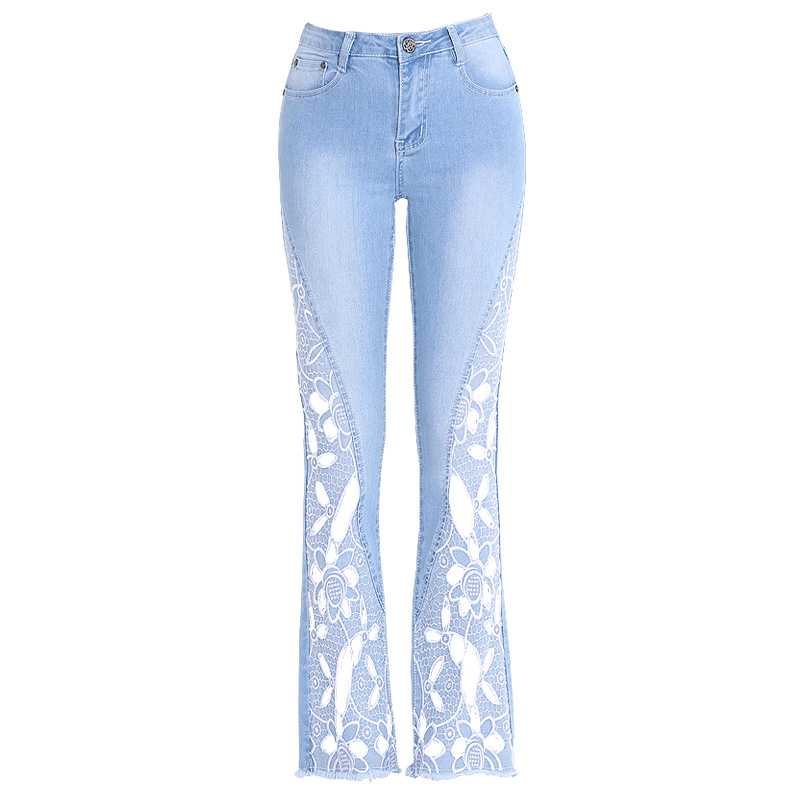 FERZIGE Brand 2019 Beautiful Hollow Out Embroidery Flare Pants Female Streetwear Skinny High Waist Jeans Women Blue Plus Size 36