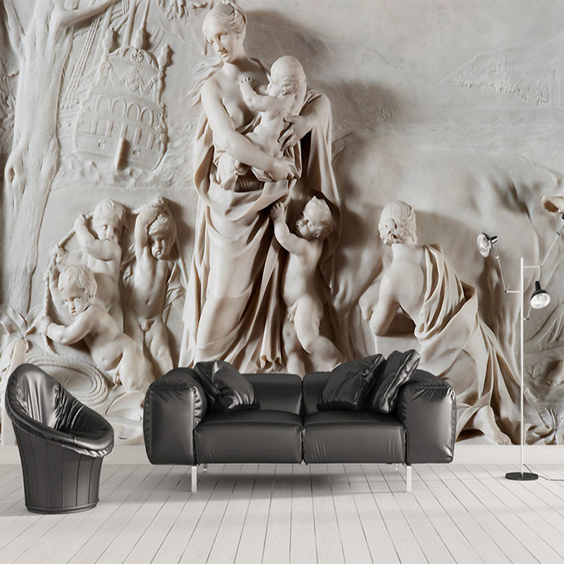 Custom Photo Wallpaper European Style 3D Stereoscopic Relief Angel Large Wall Painting Hotel Living Room Mural Wallpaper Bedroom