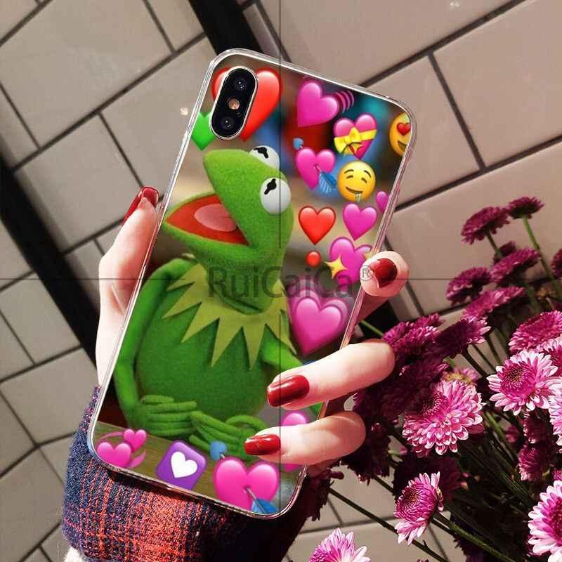 Ruicaica Kermit zielona żaba śmieszne słodkie gejów niestandardowe zdjęcie etui na telefony dla iPhone 8 7 6 6 S Plus 5 5S SE XR X XS MAX Coque Shell