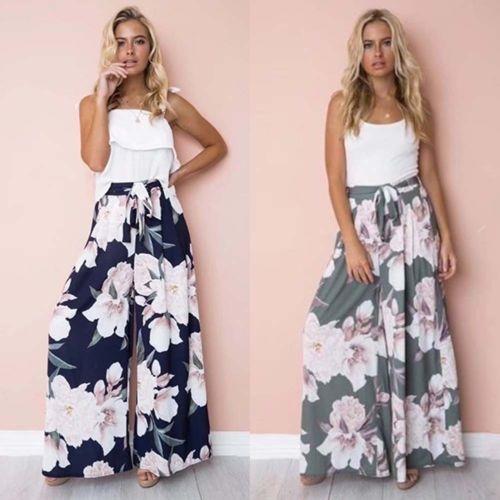 Fashion Autumn Women High Waisted Palazzo   Pants   Wide Leg Loose Chiffon   Capris   Bandage Long Trousers New Streetwear