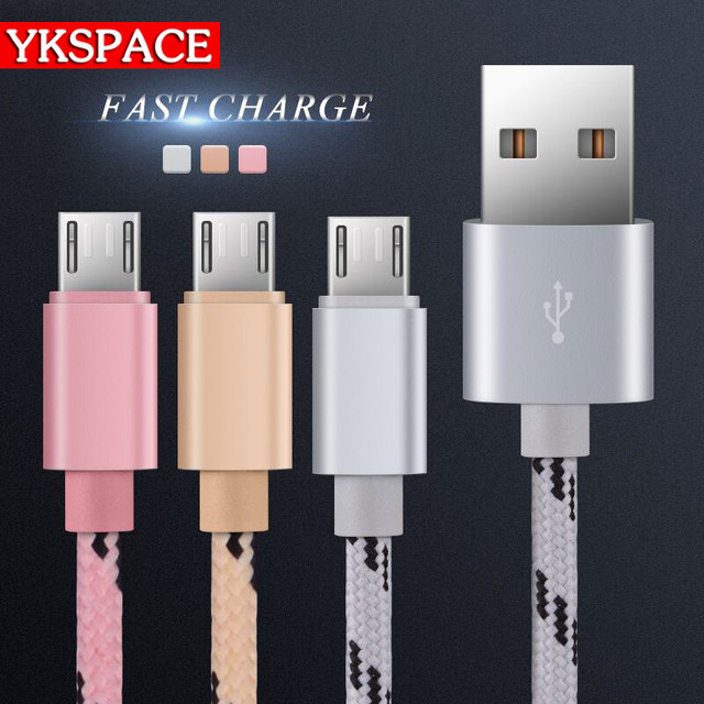 whoolesale 20pcs Micro USB Cable Fast Charging Durable Braided Fabric Mobile Phone Charger 1m For Samsung android smart phone 2A